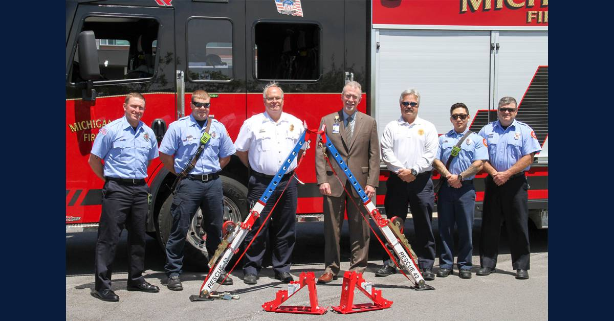 Michigan City Fire Department displays new equipment donated by Franciscan Health Michigan City