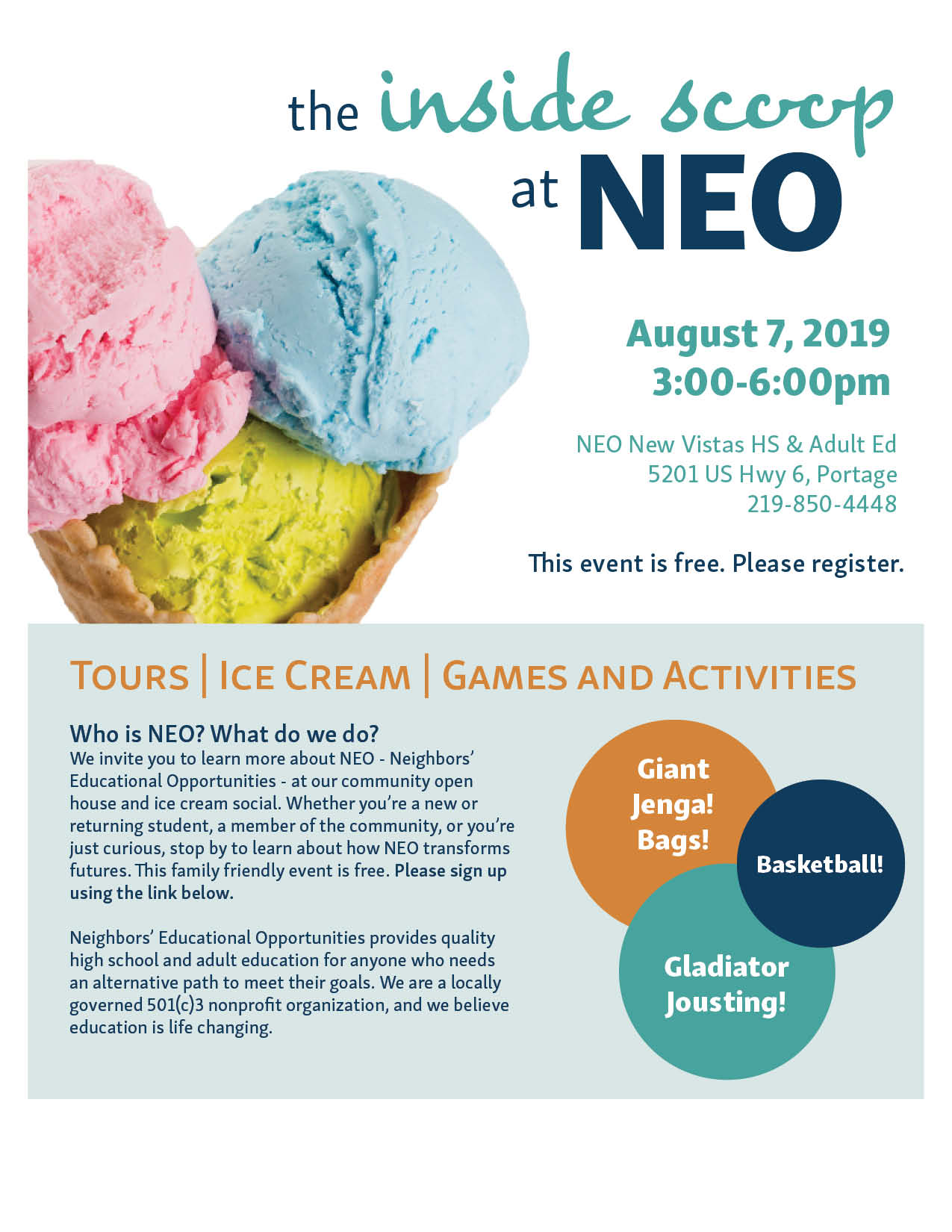 Get the inside scoop of Neighbors' Educational Opportunities at their open house and ice cream social