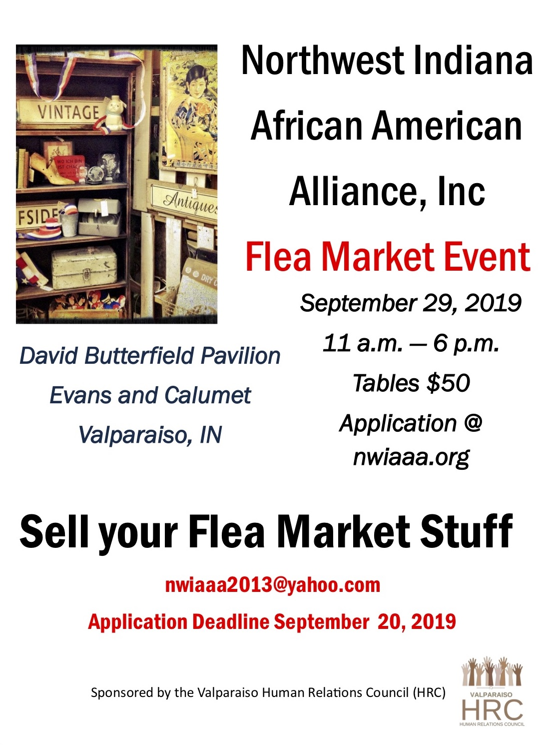 Flea Market Fundraiser Event for Northwest Indiana African American Alliance