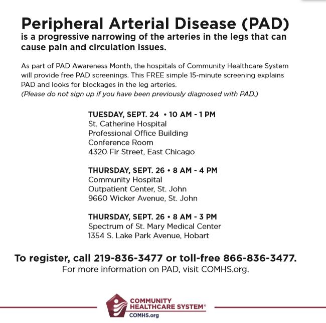 Free Peripheral Arterial Disease (PAD) Screenings