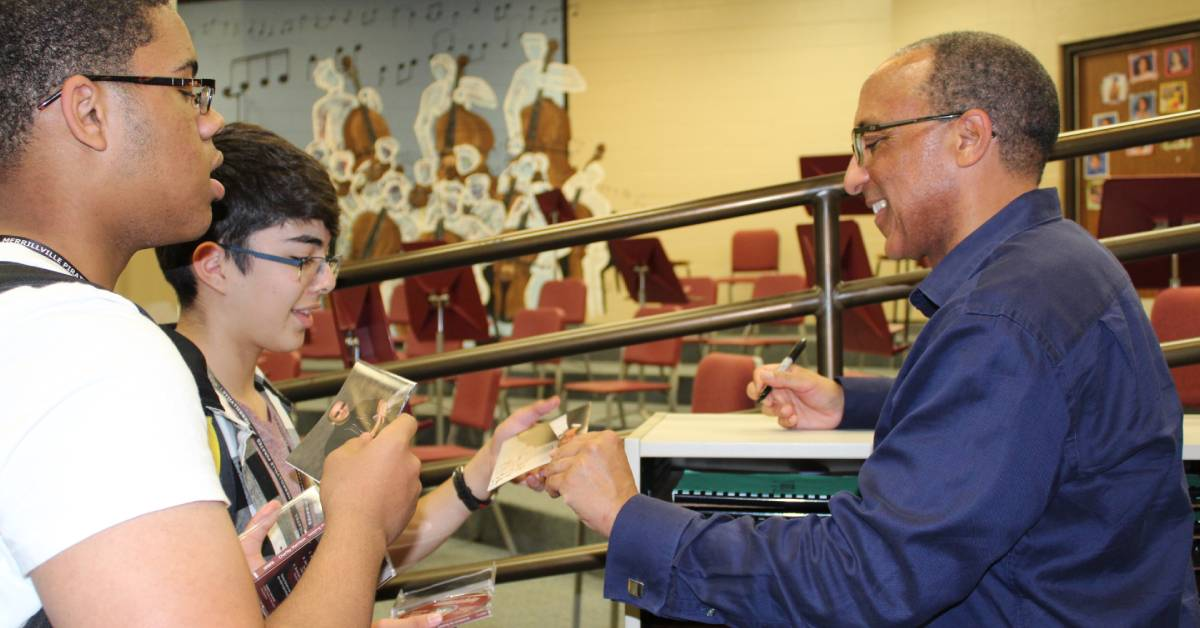 Renowned composer works  with students of Merrillville school music club