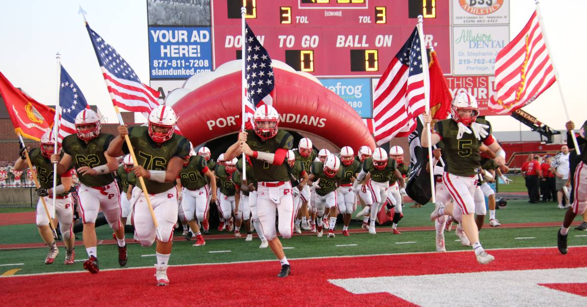 Portage Indians Varsity Football team honors local veterans and first responders at Hometown Heroes Night game