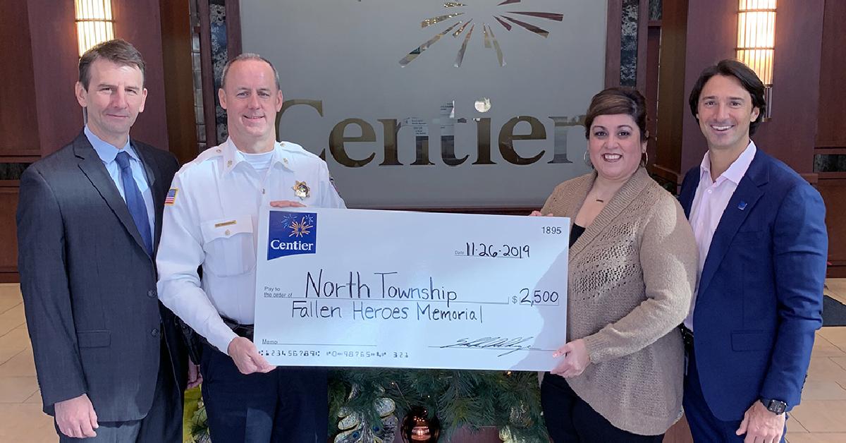 Centier Bank donates $2,500 to Fallen Heroes Memorial