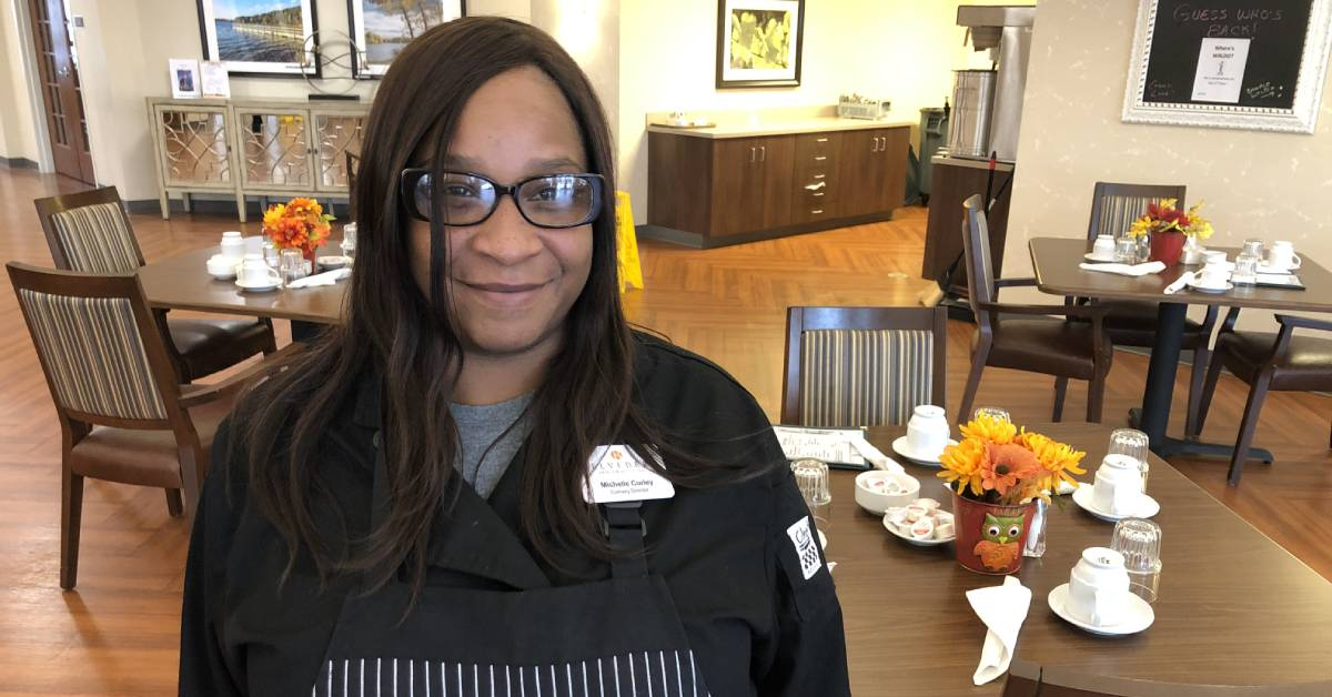 Belvedere Senior Housing's Michelle Curley demonstrates the value of a good meal