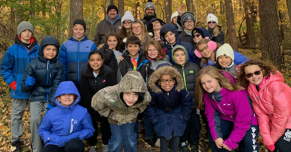 St. Mary's Environmental Club enjoys sunny day at Sunset Hills Farm