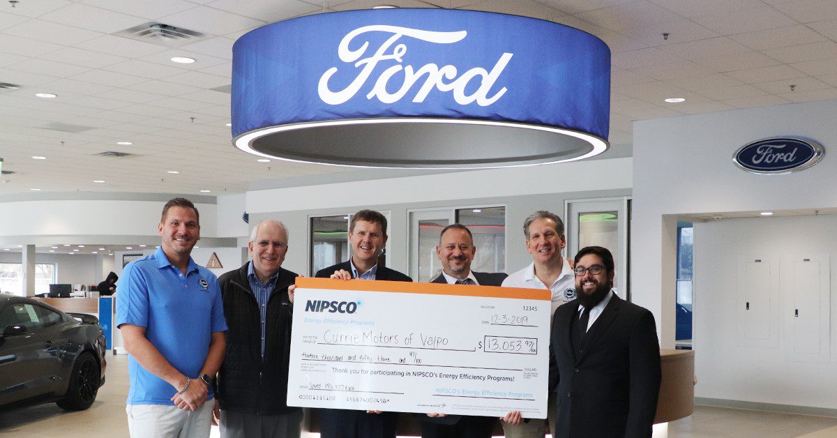 Currie Motors Ford of Valpo rewarded for responsible energy use