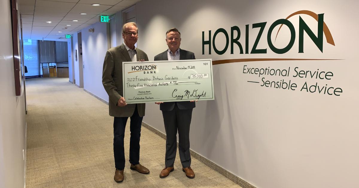 Horizon Bank donates to Friendship Botanic Gardens