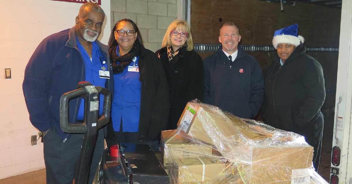 Methodist Hospitals Foundation donates supplies to the Northwest Indiana Salvation Army Adult Rehabilitation Center just in time for the New Year