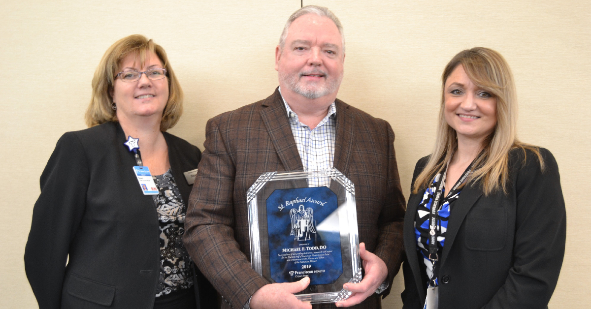 Emergency physician Michael Todd recognized by colleagues at Franciscan Health Crown Point with St. Raphael Award