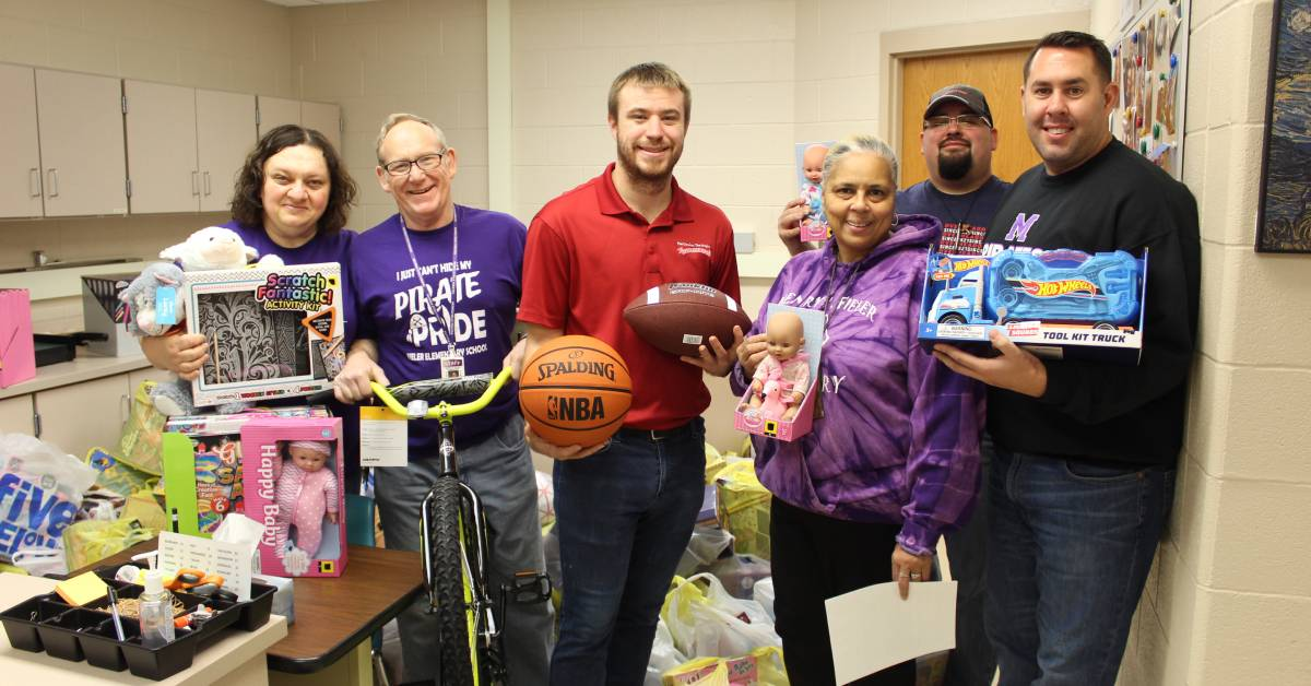 Overhead Door Company of Northwest Indiana gifts 600 toys to Fieler Elementary School