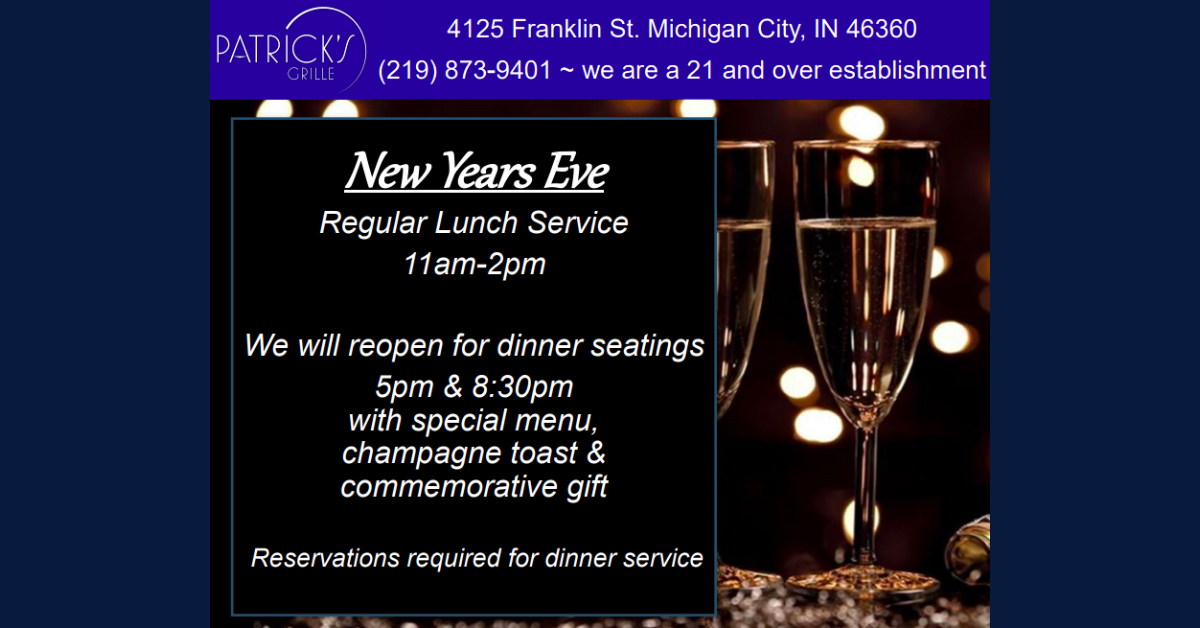 New Year's Eve at Patrick's Grille