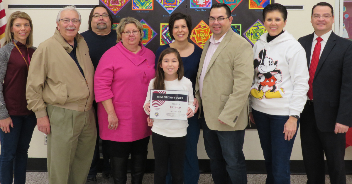 Ruby Dudek at Brummit Elementary receives Young Citizen Award