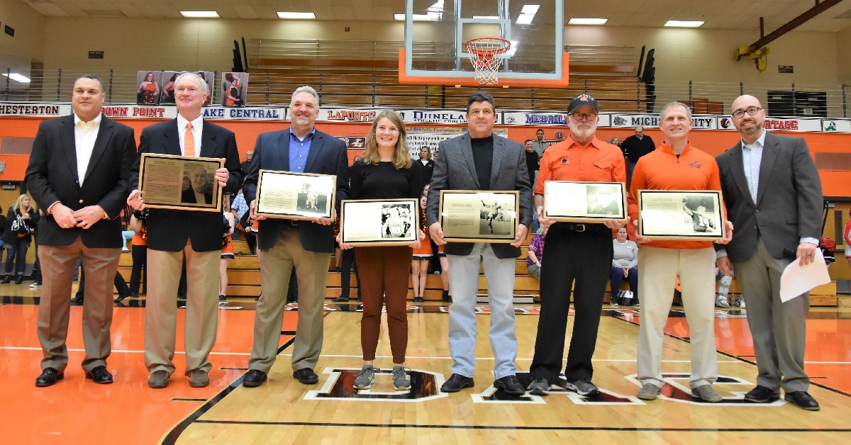 The Hubner Athletic Hall of Fame inductions at La Porte High School