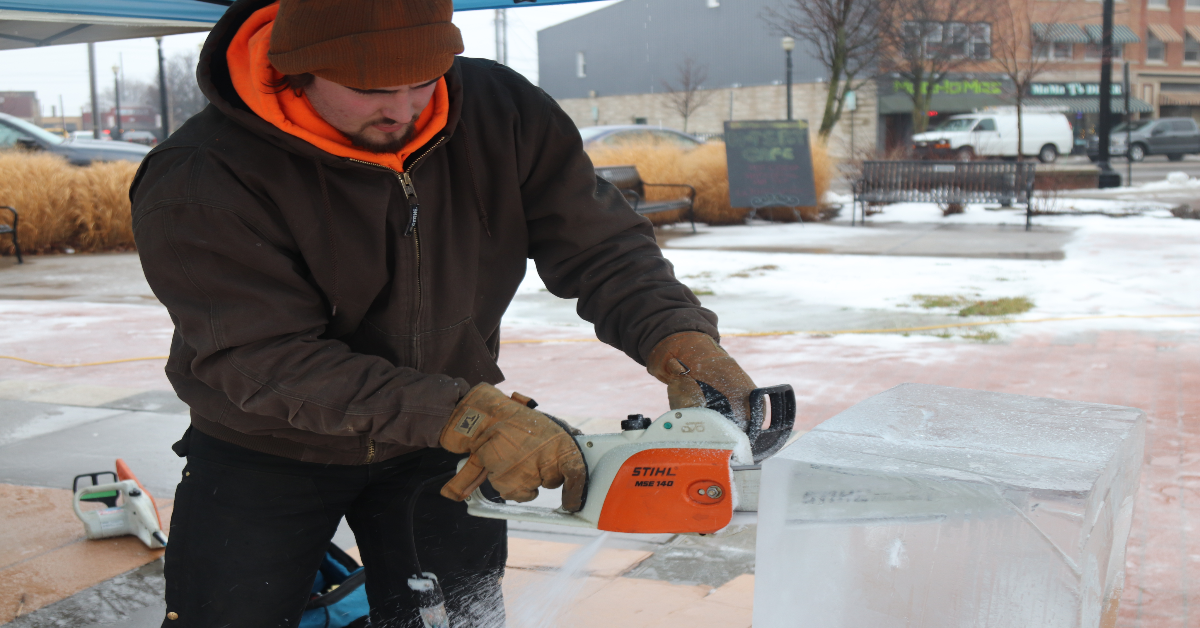 Ice Sculpture Demonstrations at La Porte's Fire and Ice Fest bring winter joy to local families