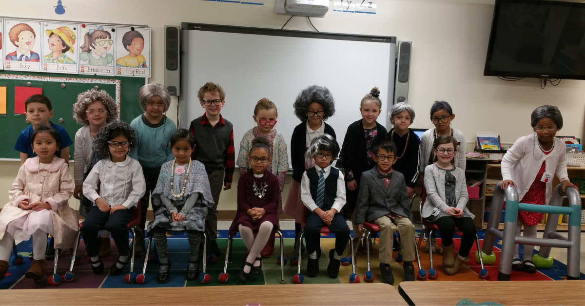 St. Mary's School – Kindergartners at St. Mary's in Crown Point dress as centenarians to celebrate 100th day of school