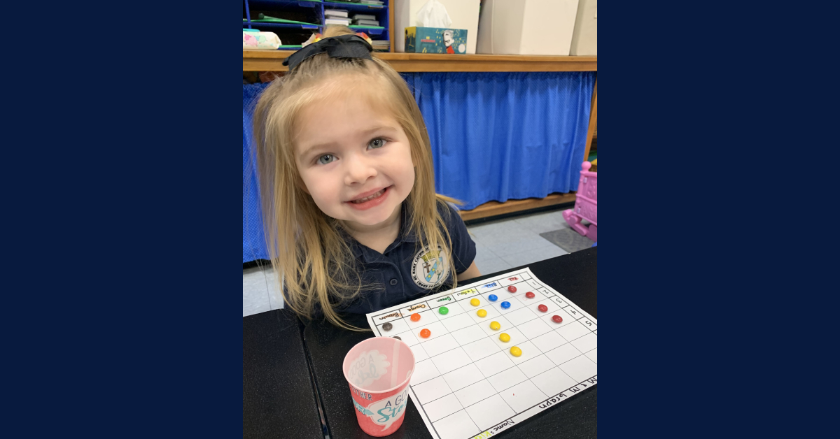 St. Mary's School – Pre-K students enjoy counting with M&M's