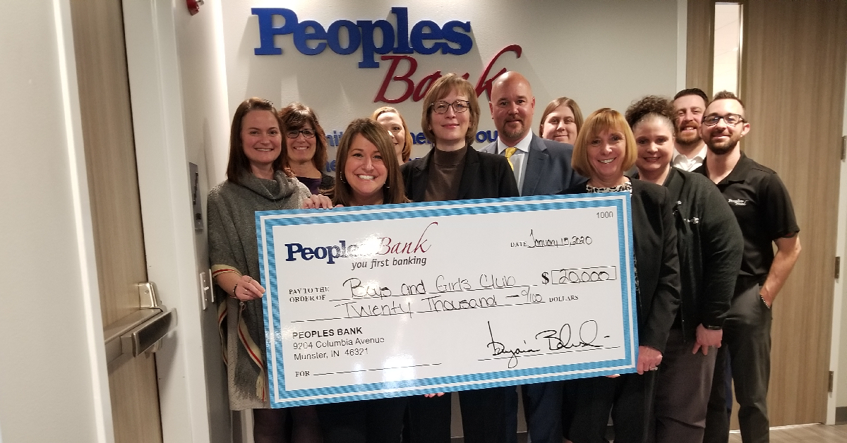 Peoples Bank Donates $20,000 to Boys & Girls Clubs of Greater Northwest Indiana