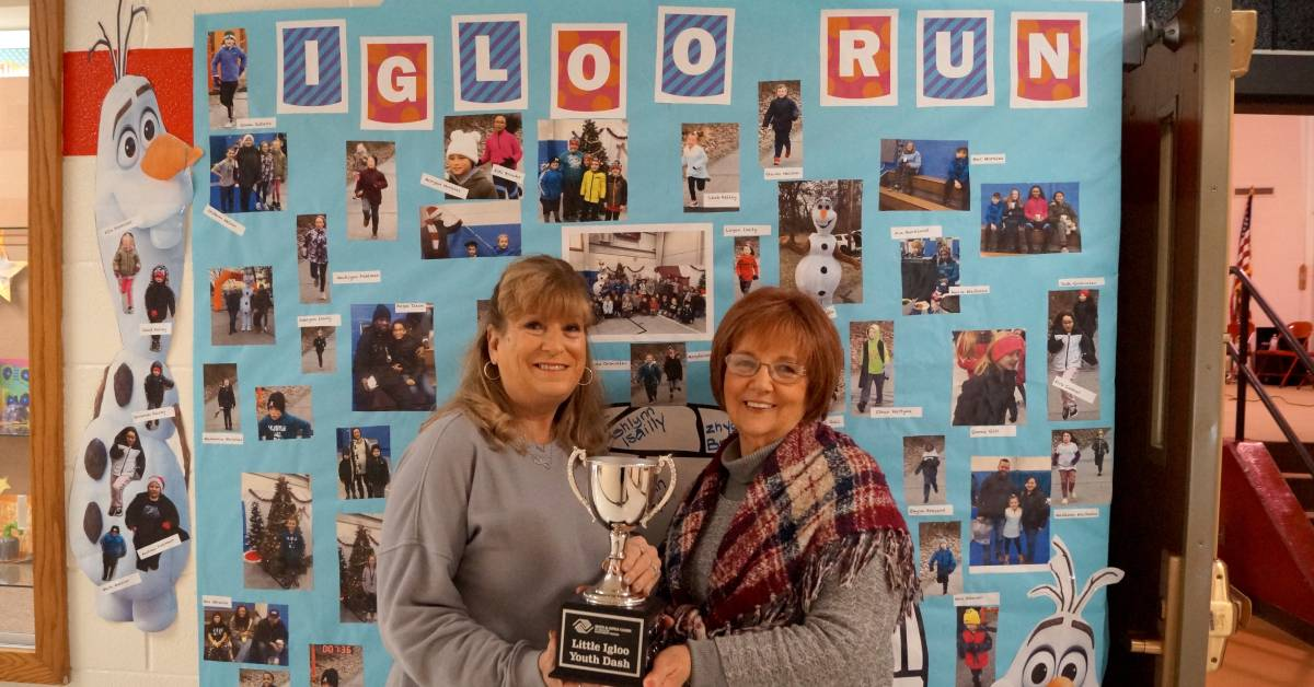 Portage Mayor Sue Lynch Presents Jones Elementary with $500 Check and Mayor's Cup Challenge Trophy