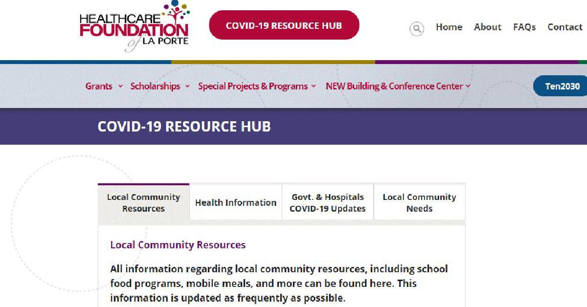 Healthcare Foundation of La Porte creates online hub for COVID-19 resources
