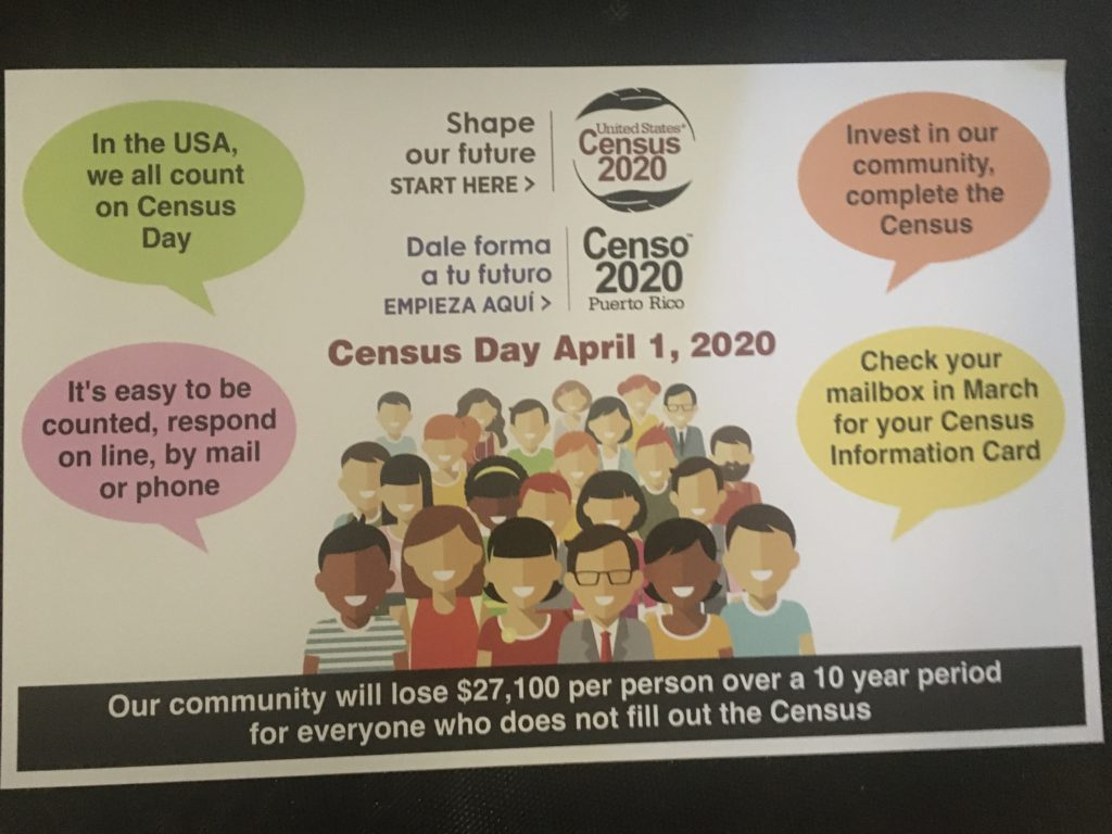 "Colorful brochure for Census Day on April 1, 2020 says, ""Our community will lose $27,100 per person over a 10 year period for everyone who does not fill out the Census"""