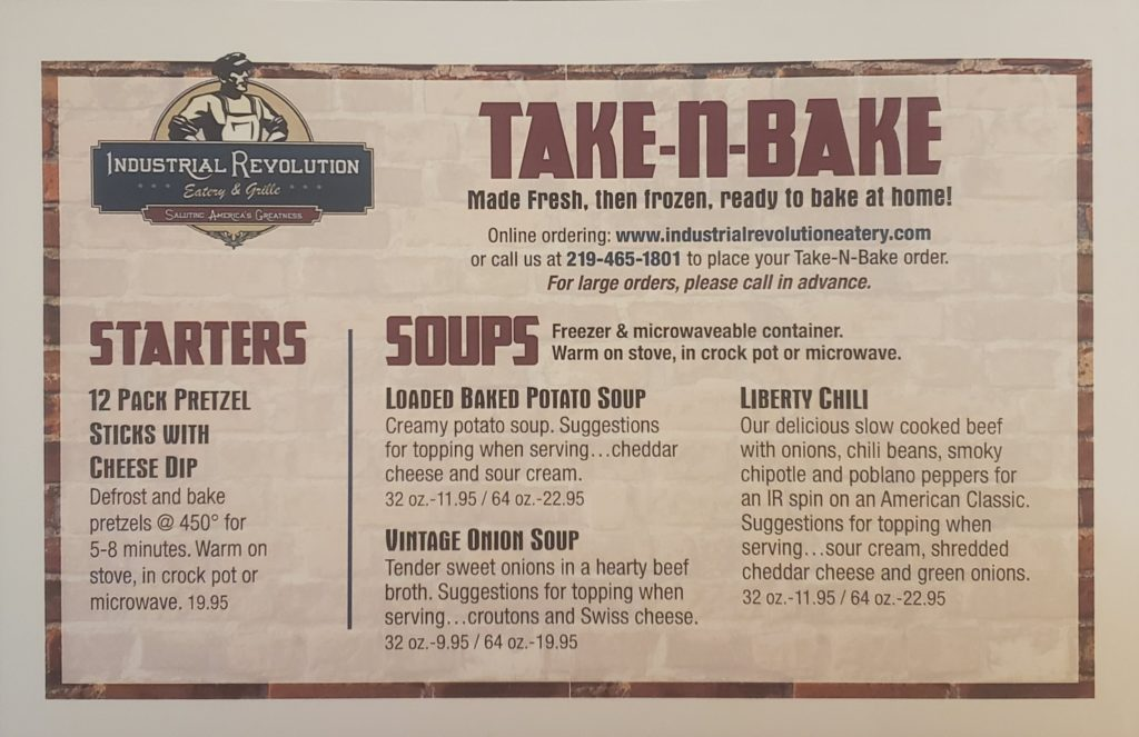 Industrial Revolution's Take-n-Bake menu featuring starters and soups