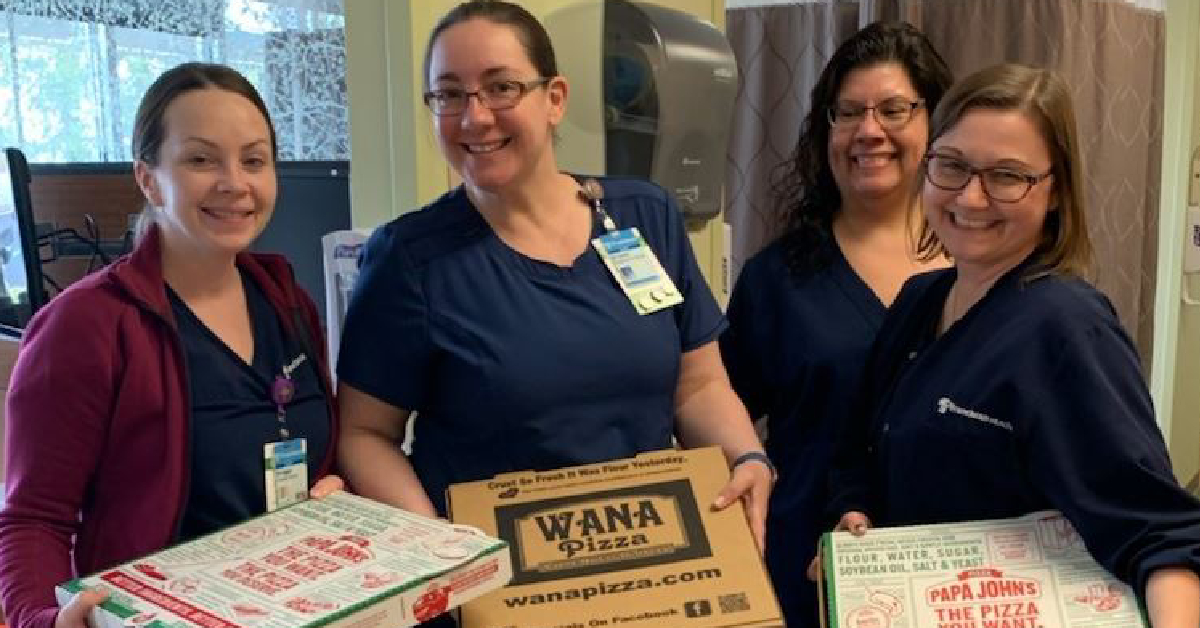 SERVPRO of LaPorte and Porter counties thanks healthcare workers at Franciscan Health Michigan City with pizza delivery