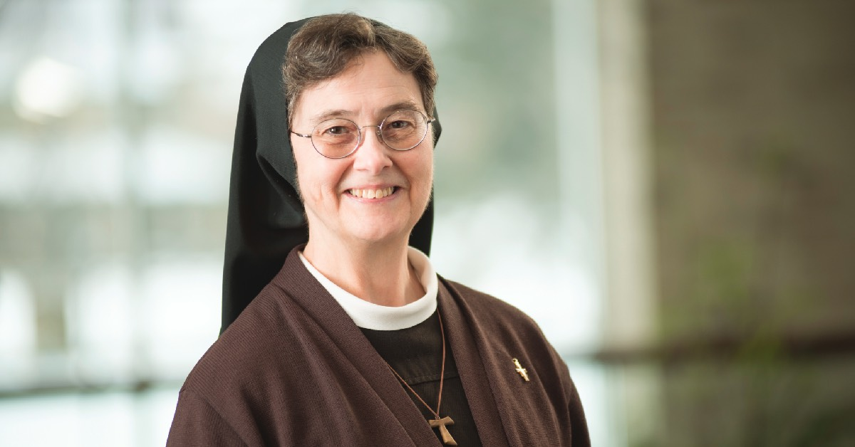 Sister Anita Holzmer guides University of Saint Francis staff and students to practice cherished Franciscan values
