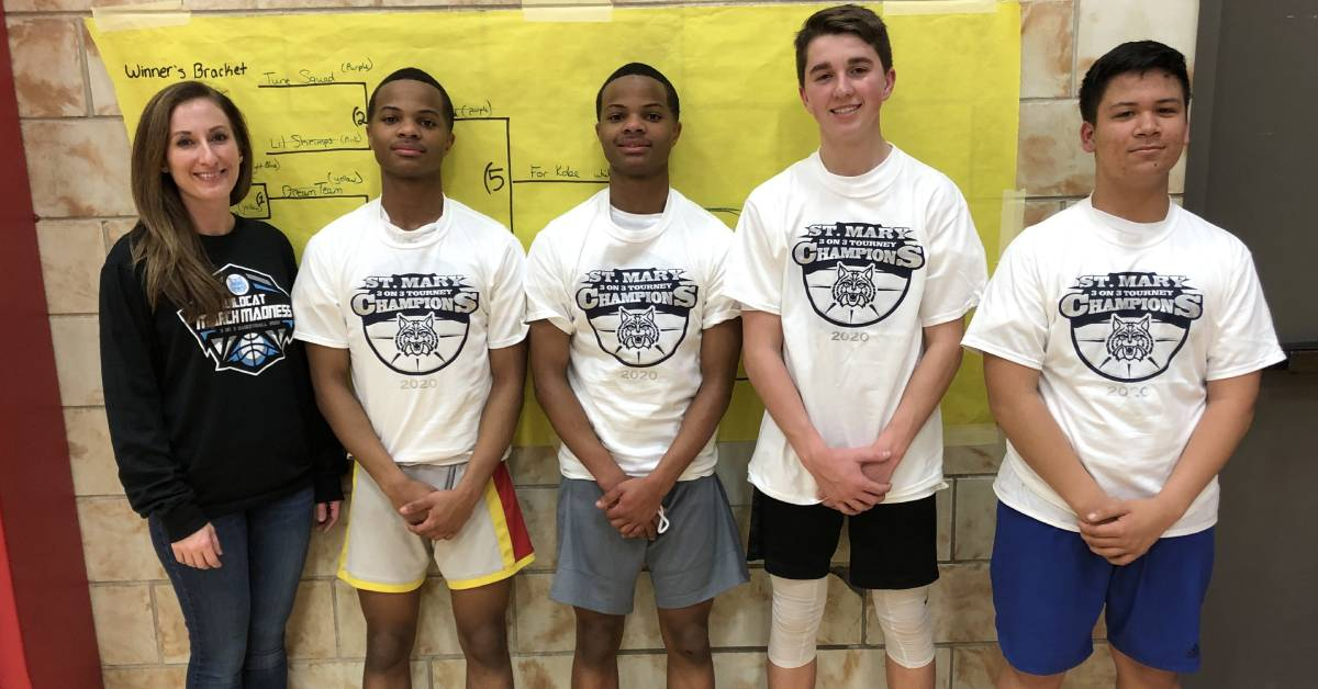 Students from St. Mary's School in Crown Point enjoyed a three on three basketball tournament in early March