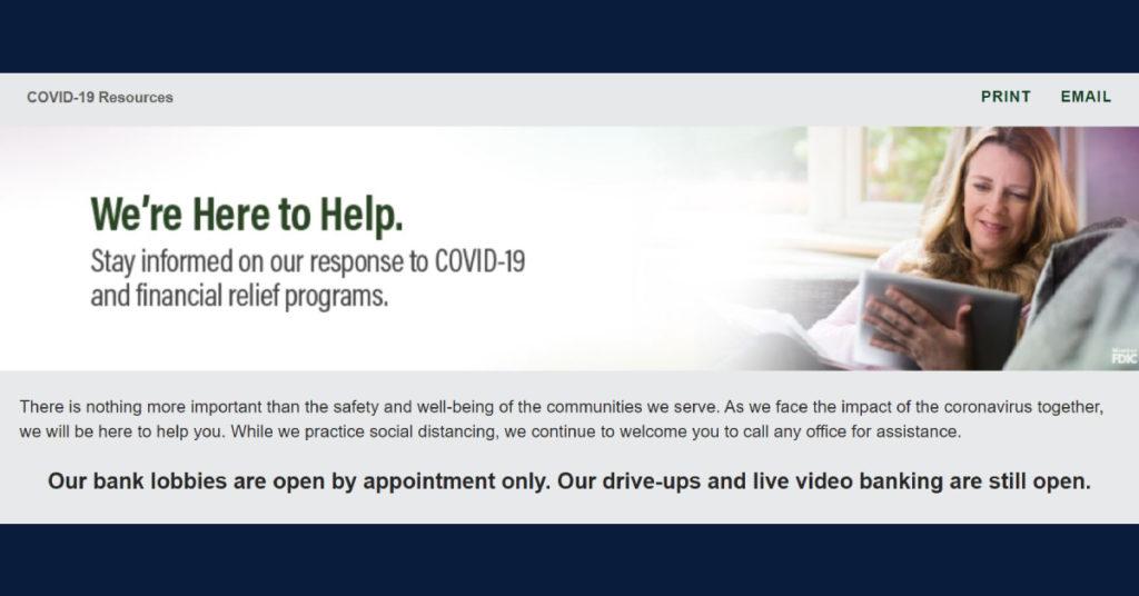 bank COVID-19 website screen shot