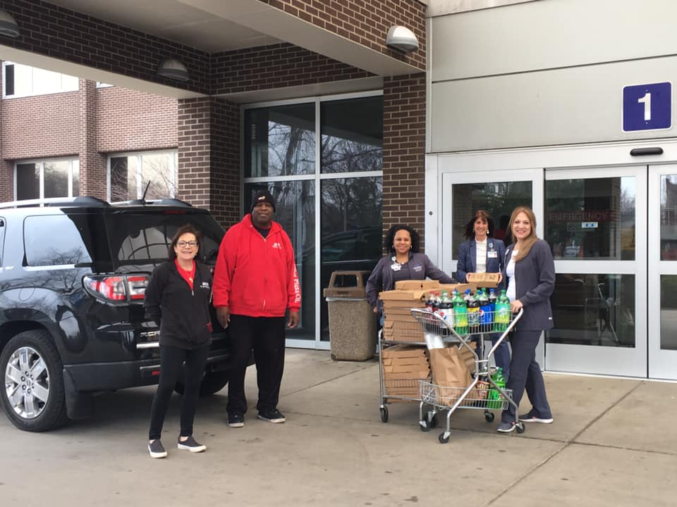 Miller Pizza donating food to hospital workers at Methodist Hospitals