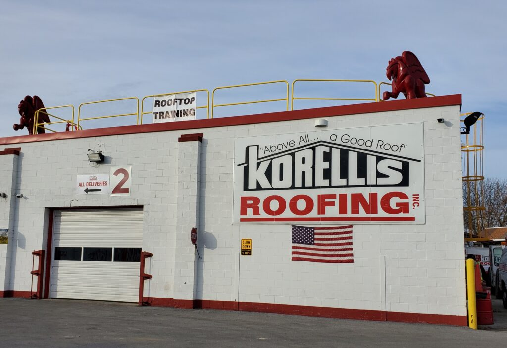Korellis Roofing Rooftop training with guardrails