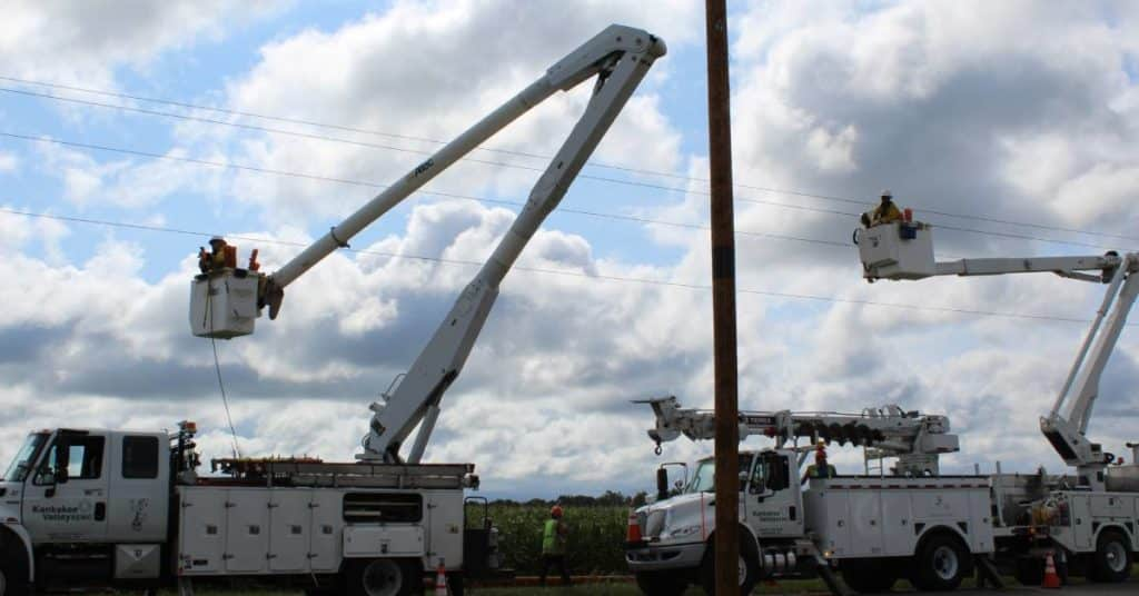 Lineworkers at Kankakee Valley REMC work hard to keep members with power
