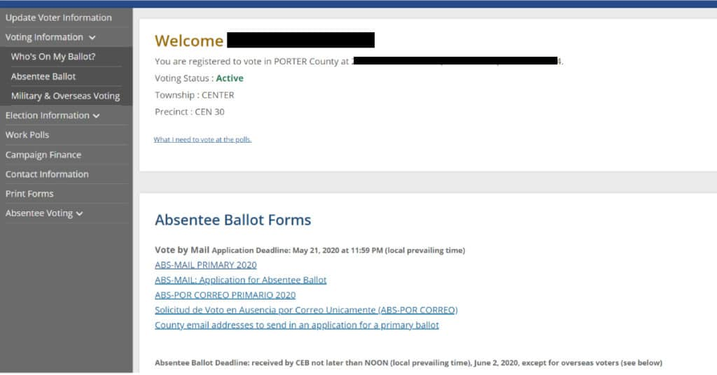 casting a ballott screen shot website Indiana elections primary elections