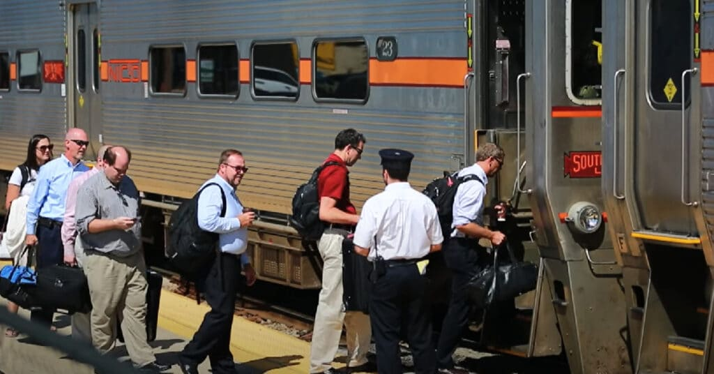 people getting on South Shore Line train NICTD Board Spotlight