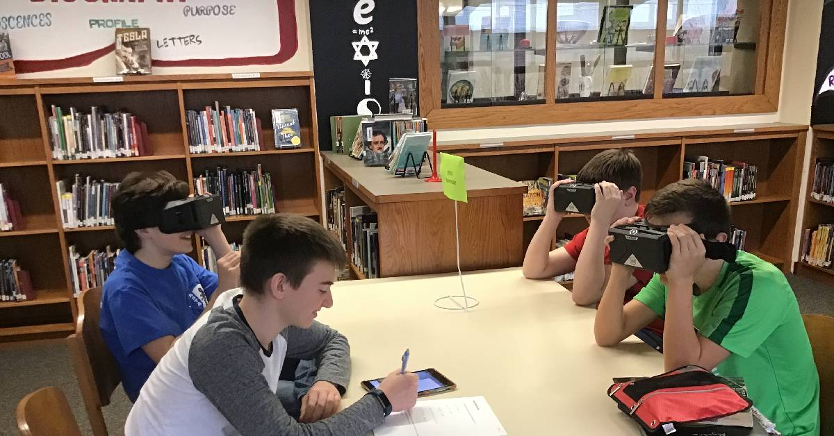 Virtual reality technology allows students to travel around the world