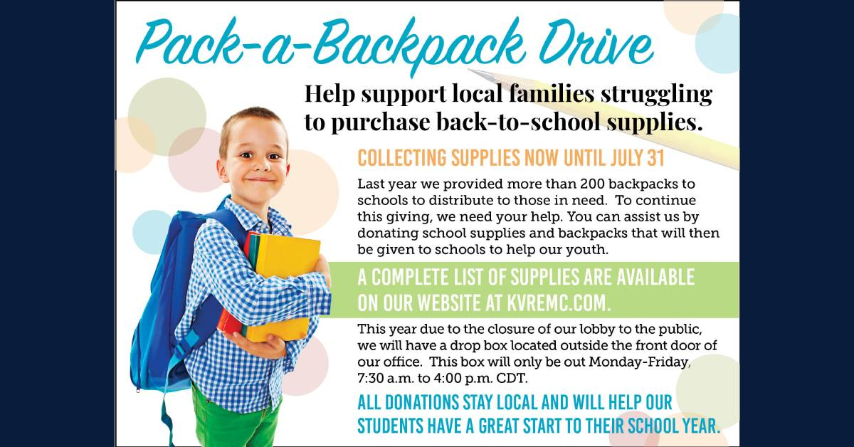 Will You Help KV REMC Pack-a-Backpack?