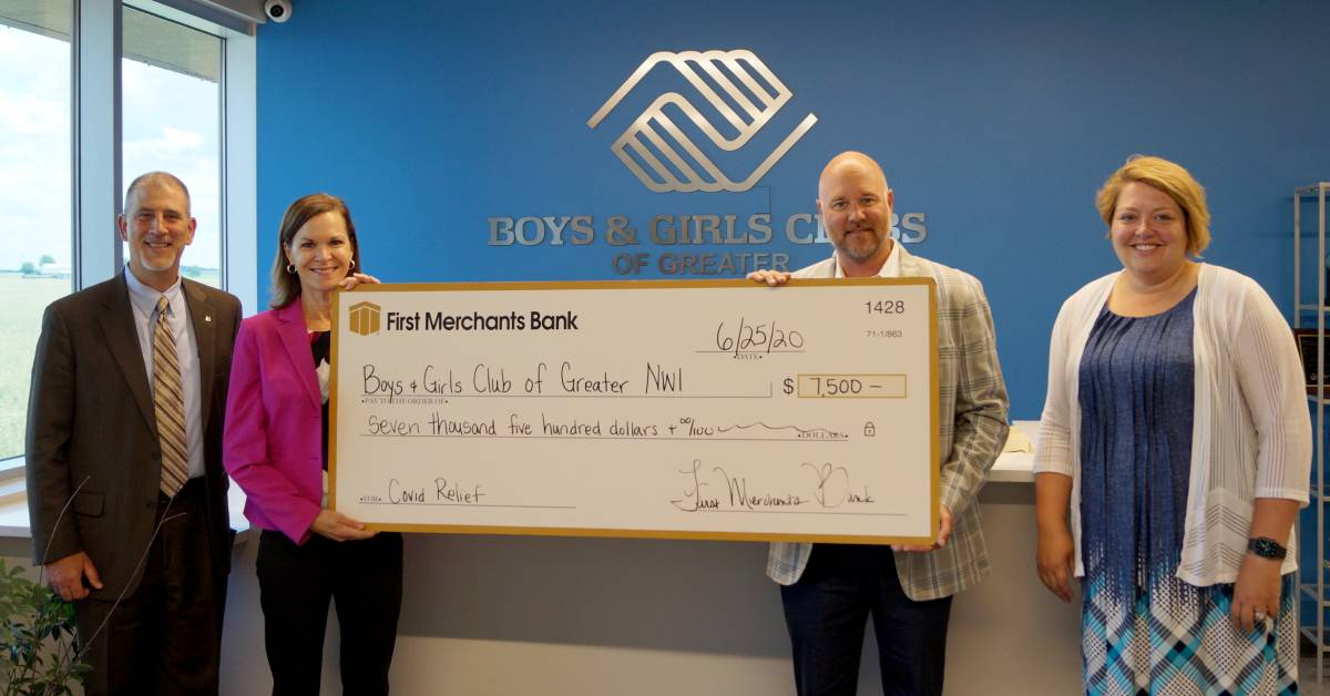 First Merchants Bank Donation Launches Boys & Girls Clubs of Greater Northwest Indiana Fundraising Campaign