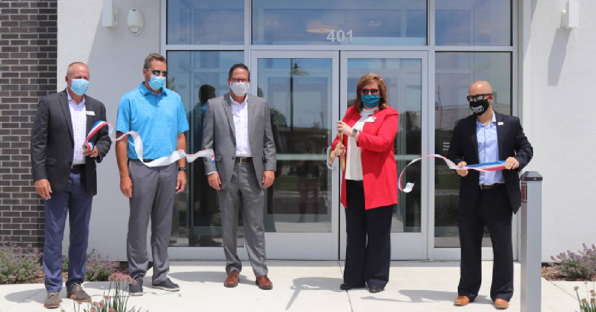 Holladay Properties, hospital, city cut ribbon for NewPorte Landing Medical Office