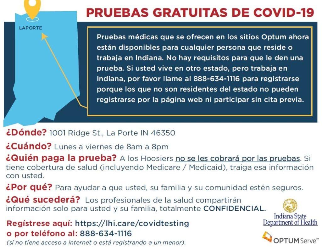 Flier in Spanish for COVID-19 testing