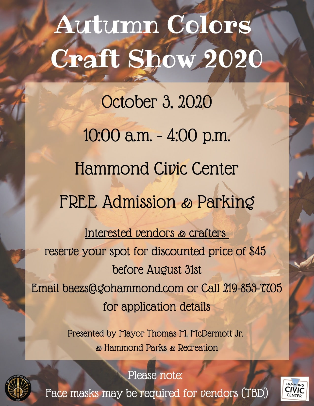 City of Hammond's Autumn Colors Craft show needs vendors