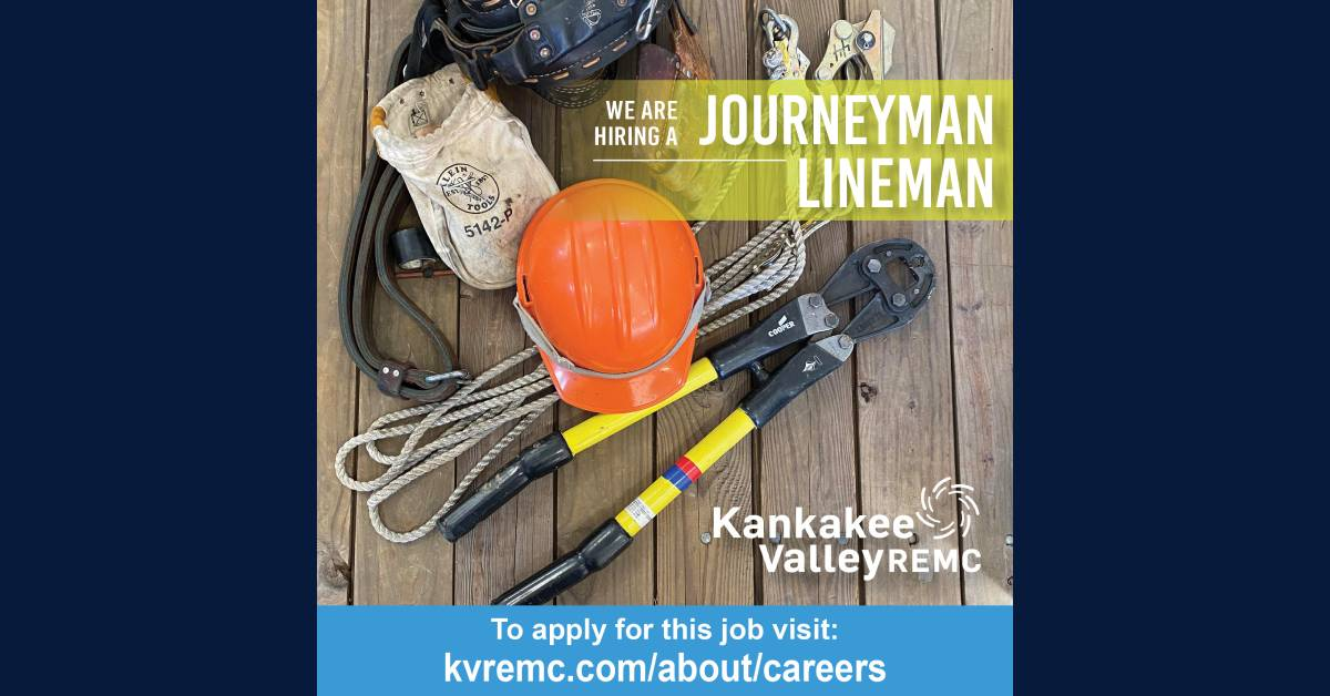 Kankakee Valley REMC hiring for a Journeyman Lineman