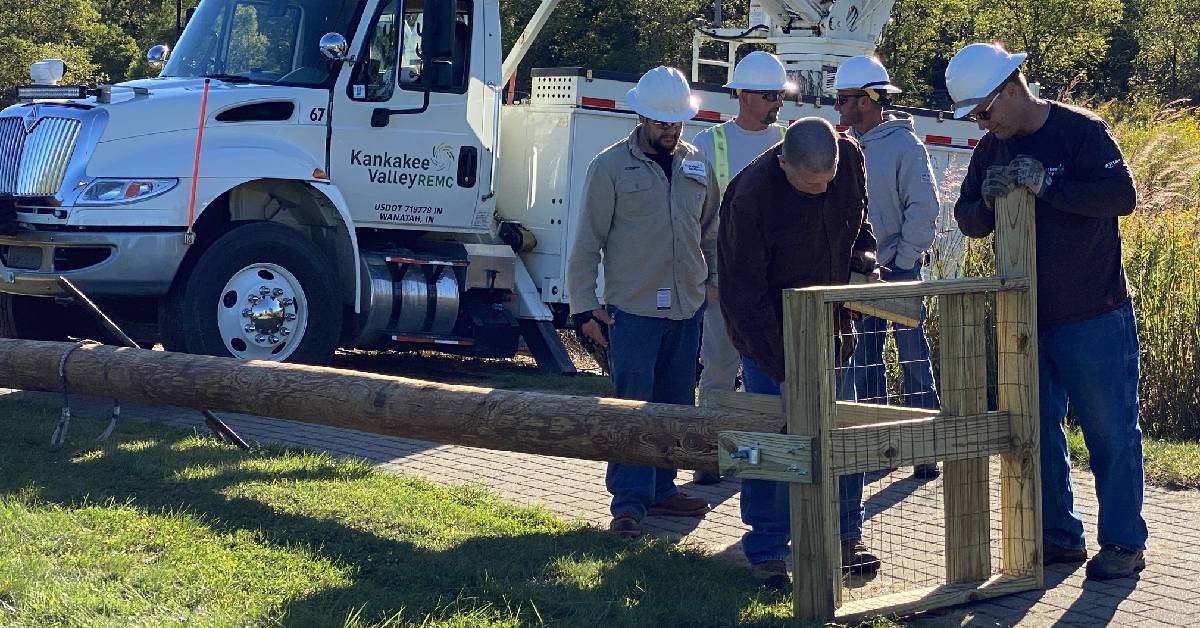 Coffee Creek Watershed Conservancy, in partnership with Kankakee Valley REMC, Installs Osprey Nesting Platform in the Coffee Creek Watershed Preserve