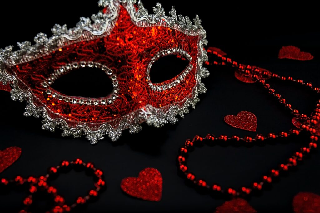 red mask and beads