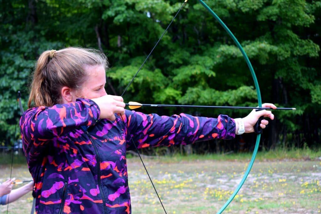 Kid practicing archery
