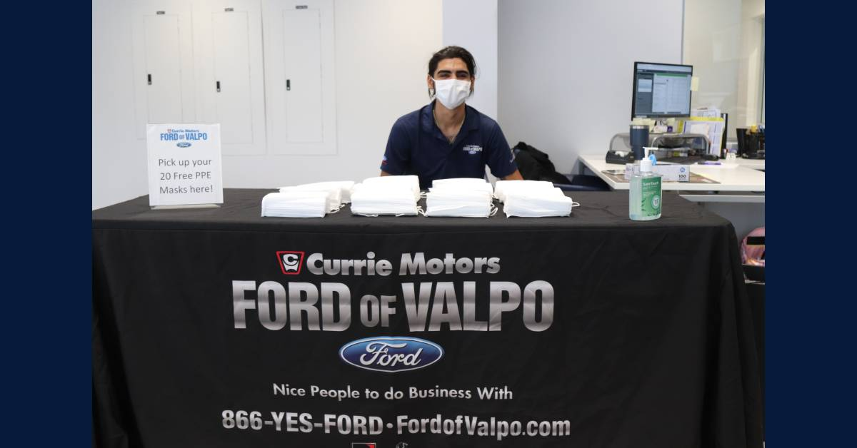 Currie Motors Ford of Valpo gives away 5,000 masks to the public on PPE Day
