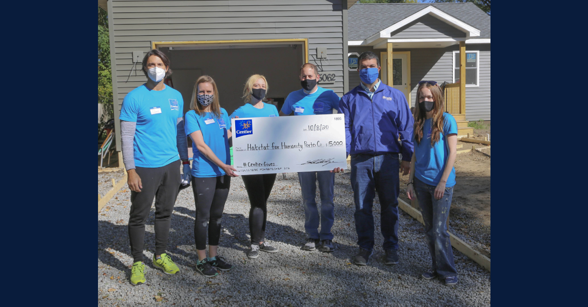 Centier Bank volunteers, donates $5,000 to Habitat for Humanity of Porter County
