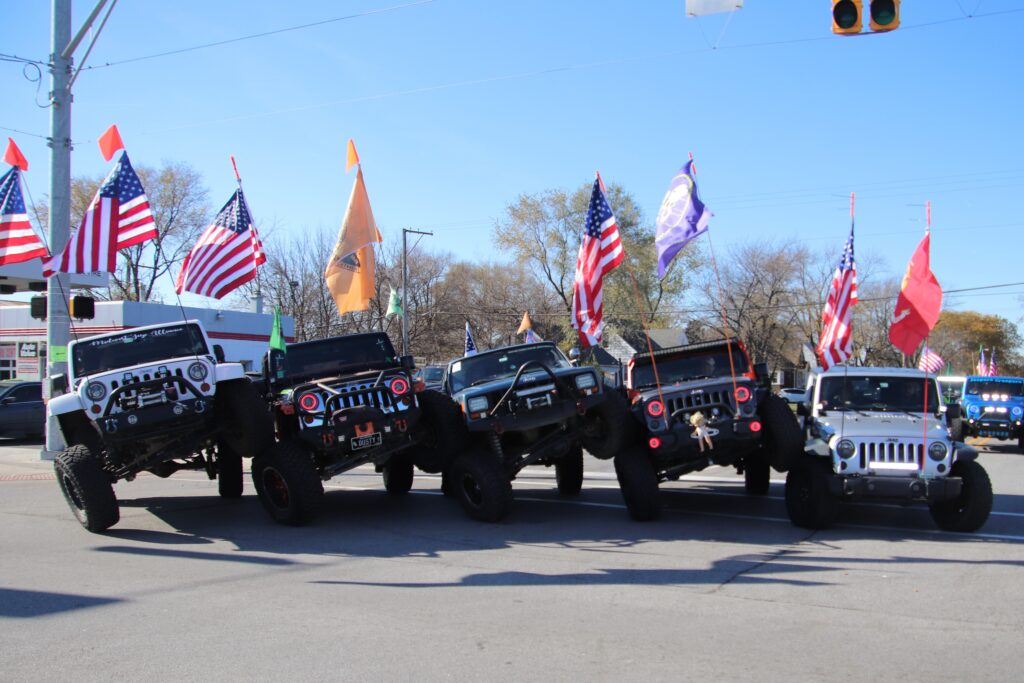jeeps with flags