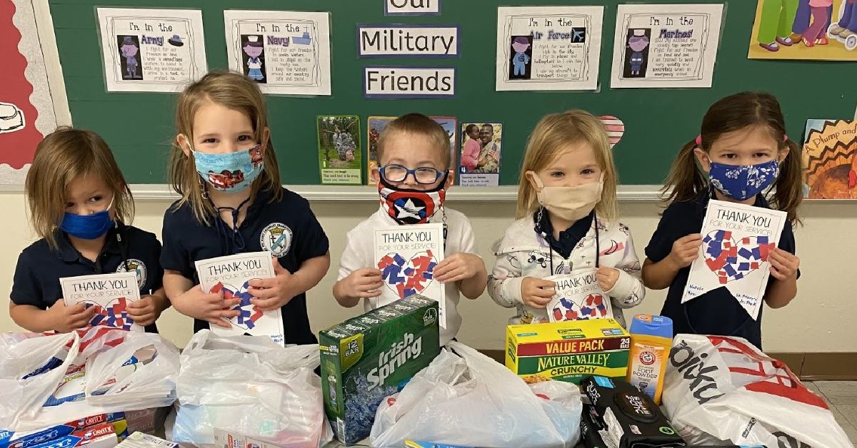 St. Mary School Preschoolers Collect for Military Care Packages