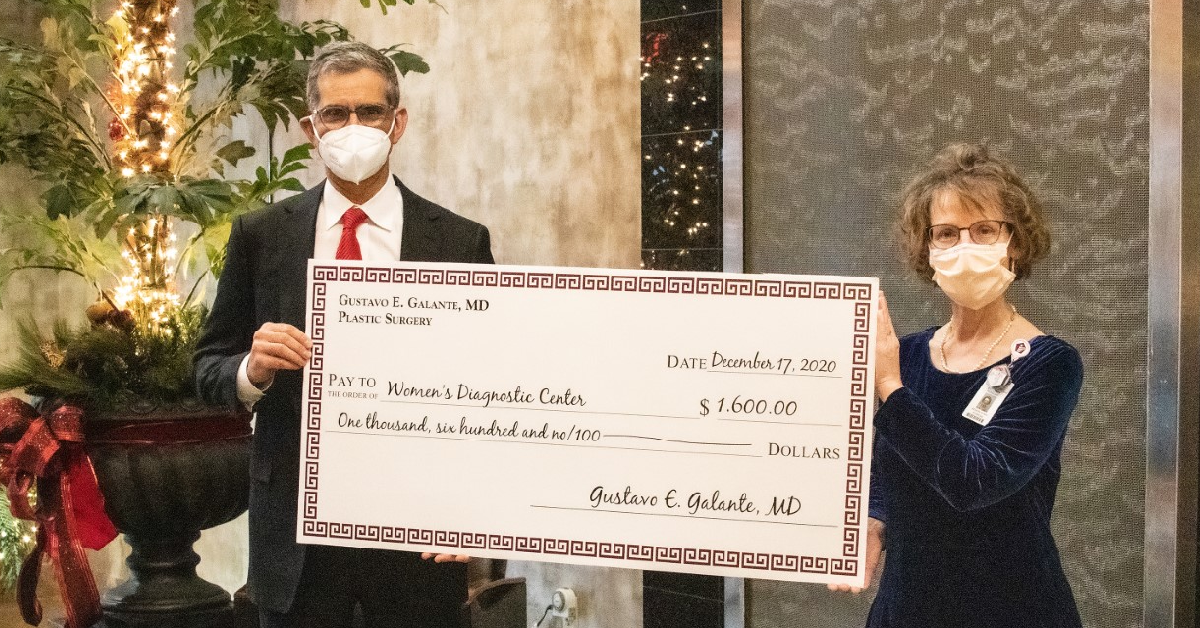 Plastic Surgeon's office donates to help women in need of Breast Cancer care