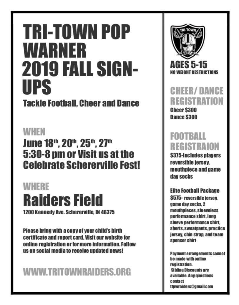 Tri-Town Pop Warner 2019 Fall Sign-Ups